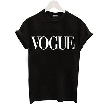 Summer T Shirt Women Fashion VOGUE Printed