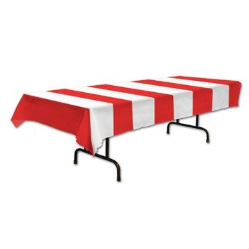 Red & White Stripes Tablecover Party Accessory (1 count) (1/Pkg)