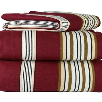 4 Piece 100% Soft Flannel Cotton Bed Sheet Set  Queen/King Size  Patterned Bedding Covers  1 Flat Sheet, 1 Fitted Sheet, 2 Pillow Cases - Fade Resistant Designs, (Burgundy Stripe, king) Red