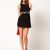 TFNC Skater Dress with Embellished Waistband at asos.com