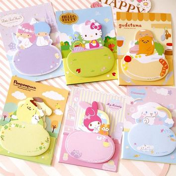 Cute Cartoon Hello Kitty N Times Memo Pad Self-Adhesive Planner Stickers Paper Bookmarks Sticky Notes School Office Supply