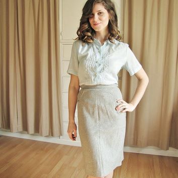 Vintage 1950's Gray Pencil Skirt by Coldfish on Etsy