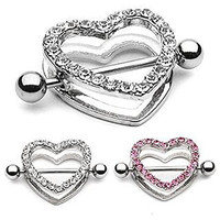 Pair of 14g Heart Paved with 22 Clear Gems - Dangle Nipple Bar Shield Ring Barbell