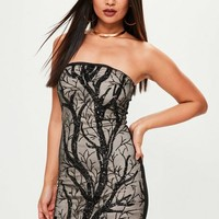 Missguided - Black Sequin And Mesh Mini Dress