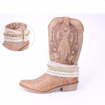 Ribbon Rhinestone Totem Decoration Vintage Ethnic Style Apricot Western Cowboy Boots in Tube Women's Shoes