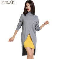 Fincati 2016 Women's Autumn Turtleneck Cashmere Blend Dress Fashion Asymmetrical Hem Knitted Pullover Dresses All Match Knitwear