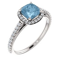 Platinum 6mm Cushion Cut Sky Blue Topaz & Diamond Halo Engagement Ring