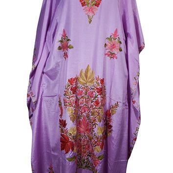 Mogul Womens Kimono Kaftan Floral Embroidery Beach Cover up Caftan Evening Dress (Purple 3): Amazon.ca: Clothing & Accessories