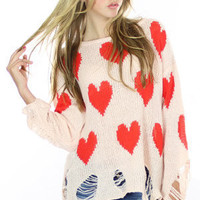 AUTHENTIC Wildfox Couture - All Over Love Lennon Sweater