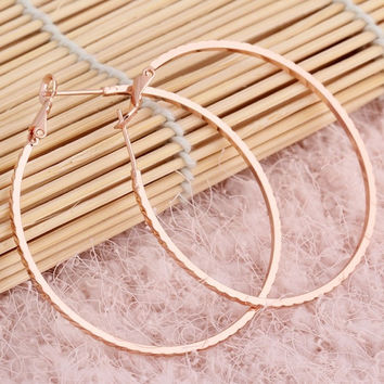 2015 New Hot Selling New Trendy Vintage Loop Rose Gold Plated Platinum Plated Hoop Earrings Jewelry 2 Colors = 1946560324