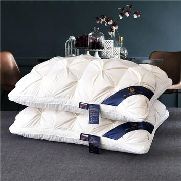 48*74cm White Bread Style Rectangle Goose/Duck Down Pillow Bedding set Whole cotton goose wool pillow Comfortable Soft Pillow