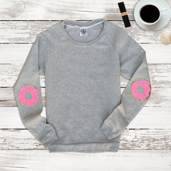 Sequin Donut Elbow Patch Sweatshirt Jumper - Elbow Patch Sweater