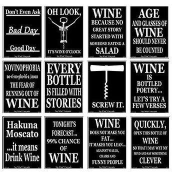American Art Classics Set of 12 Black and White Funny Wine Bottle Labels  5 Inch X 4 Inch