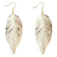 Dangling Etched Feather Earrings by Charlotte Russe - Gold