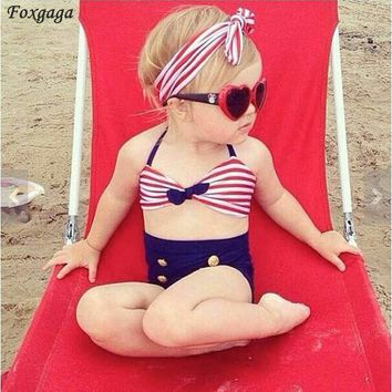 1-8 years old Cute Child Bikini Striped Sailor swimsuit swimwear high waisted bathing suit for kids baby girls Biquini
