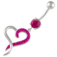 "14Gauge (1.6mm), 3/8"" Inch (10mm) Heart Fuchsia Swarovski Crystal Ferido dangle belly dangling navel button ring dangly bar 1346 - Pierced Body Piercing Jewelry CR_263: Jewelry: Amazon.com"