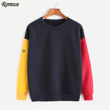 ROMWE Color Block Patchwork Sweatshirt 2017 Pullovers Women Drop Shoulder Autumn Tops Sleeve Letter Print Plus Size Sweatshirt