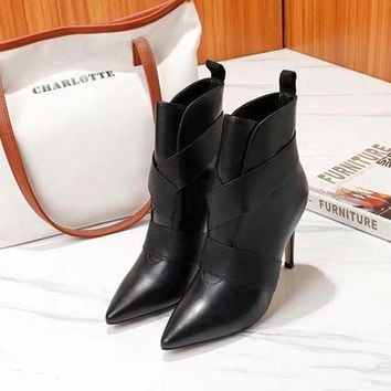 Gianvito Rossi   Trending Men Women Black Leather Side Zip Lace-up Ankle Boots Shoes High Boots
