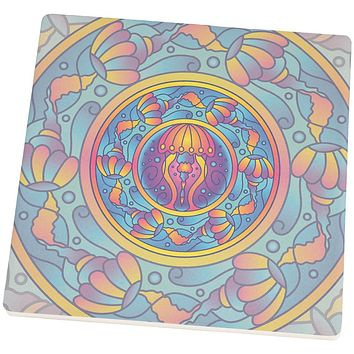 Mandala Trippy Stained Glass Jellyfish Square SandsTone Art Coaster