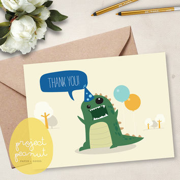 Printable Mini Thank You Card: Dinosaur [Instant Download]