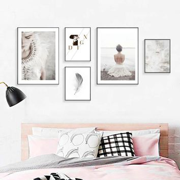 Nordic Feather Painting Wall Art Canvas Painting Posters And Prints Cuadros Decoracion Wall Pictures For Living Room Unframed