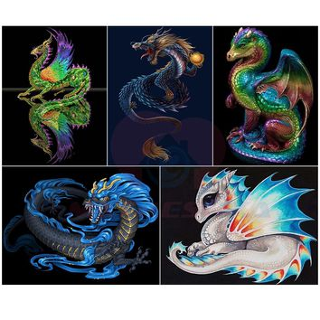 Diamond Painting Cross Stitch Dragon Baby Resin Diamond Mosaic Beaded Crystal Picture Diamond Embroidery Pictures of rhinestones