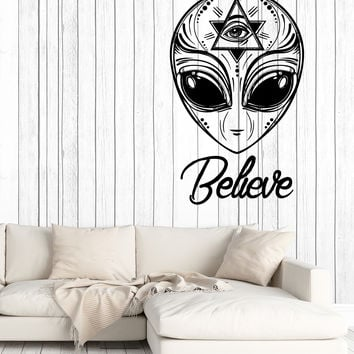 Wall Vinyl Decal Alien UFO Humanoids Space Stars Home Decor z4671