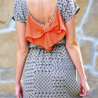 Peek A Bow Dress: Grey/Orange | Hope's