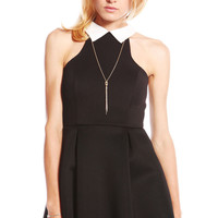 COLLARED NEOPRENE FLARED PLEATED DRESS - BLACK
