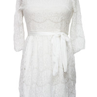 White Net Lace Cocktail Mini Dress