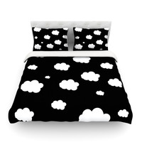 "Suzanne Carter ""Clouds"" Black White Featherweight Duvet Cover"