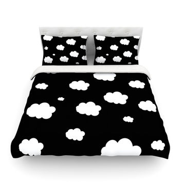 """Suzanne Carter """"Clouds"""" Black White Featherweight Duvet Cover"""