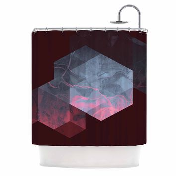 "Cafelab ""Dramatic Geometry"" Black Pink Geometric Shower Curtain"