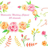 Watercolor wedding clipart - pink and yellow rose,leaf,flower bud, seed pots instant download or wedding invitations, greeting cards (set1)