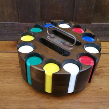 Vintage Wood Lazy Susan Poker Caddy Poker Chip Set With Cover And Chrisloid Poker Chips