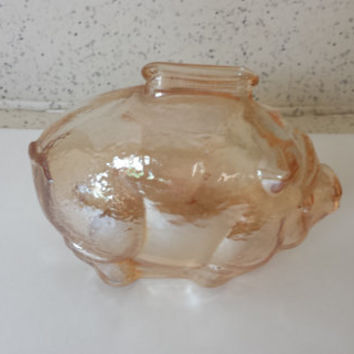 Vintage Piggy Bank Peach Colored Glass 1950's Woolworth's Dime Store Alternate to a Money Card