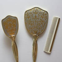 Vintage Long Handle Brush, Comb and Mirror Set Made in England 1950s