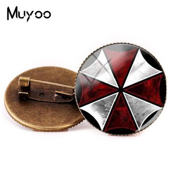 2018 New Style Resident Evil Umbrella Brooch Pin Glass Metal Brooches Vintage Fashion Pins Round Photo Jewelry Glass Brooch