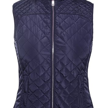Blue High Neck Diamond Cotton Quilted Vest Coat