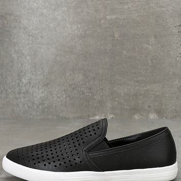 Perla Black Perforated Slip-On Sneakers