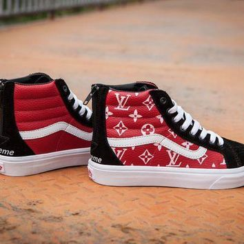 Vans X Supreme X Lv Sk8 Hi Casual Skateboard Shoes