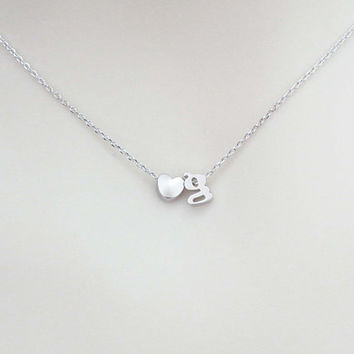 Personal, Lower case, Initial and Heart, Gold, Silver, Necklace, Lovers, Friends, Mom, Sister, Gift