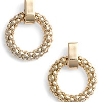 Women's Anne Klein Beaded Hoop Stud Earrings