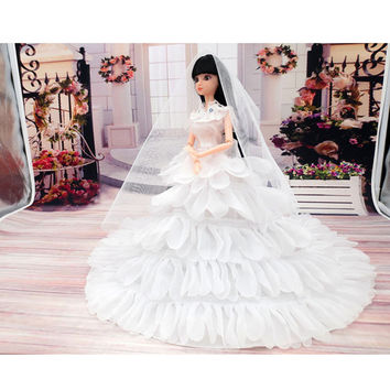 Fashion Toy Doll Clothes Princess Evening Party Wedding Dress Clothes Clothing Gown Wears With Veil For Doll Toys For Girls