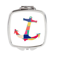 Anchor Compact Mirror - FREE shipping to USA anchor art purse mirror pocket silver compacts double mirror square wearable art accessories