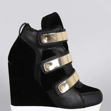 Dollhouse Suede Metallic Strap High Top Wedge Sneaker