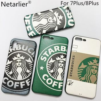 Netarlier Fashion Cartoon Starbuck Coffee Queen Phone Case For Iphone 7 Plus/8Plus 5.5inch Silicon Soft Car Bracket Case Cover