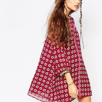 Native Rose Daisy Roots Smock Dress with Blouson Sleeve