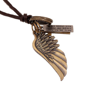 Fashion Jewelry Angel wings Necklace Men's Personality Leather Rope Alloy Clavicle Necklace Casual Vintage Punk Necklace 0034