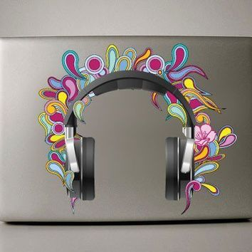 Colorful Headphones  Macbook Decal by williamandcindy on Etsy